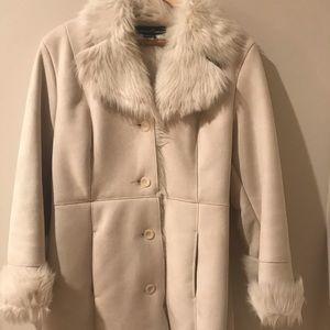 Vegan suede jacket in off-white size S